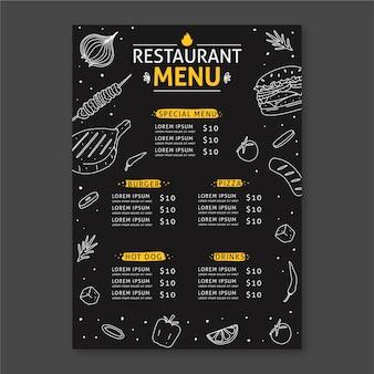 Disegno del modello di menu del ristorante