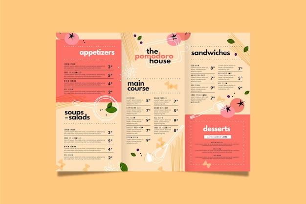 Disegno del modello di menu di cibo