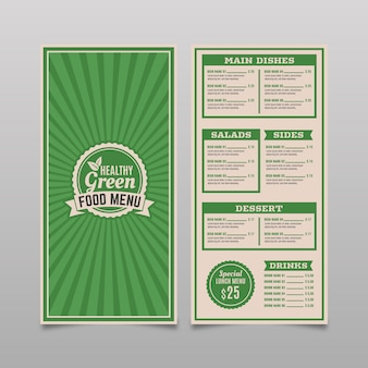Disegno del modello di menu ristorante vintage