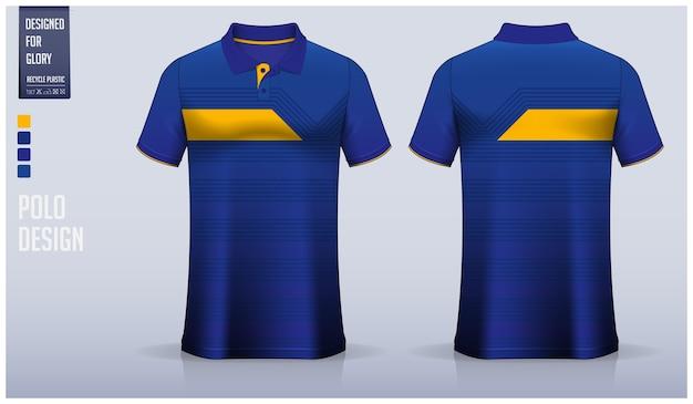 Disegno del modello di polo blu, uniforme sportiva e abbigliamento casual.
