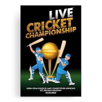 Disegno del modello di poster live cricket championship, giocatore di cricket