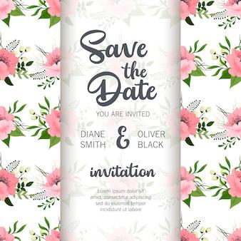 Disegno del modello di scheda di invito matrimonio botanico