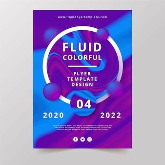 Disegno del modello di volantino colorato effetto fluido