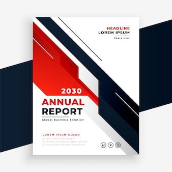 Disegno del modello di volantino del rapporto annuale di affari rosso geometrico