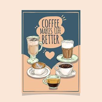 Disegno del modello di volantino della caffetteria