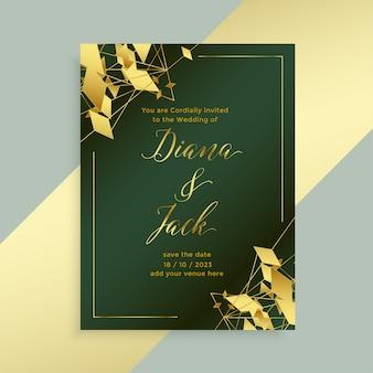 Disegno del modello di volantino di nozze stile dorato astratto