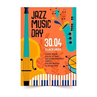 Disegno del modello di volantino internazionale giorno jazz