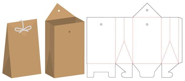 Disegno del modello fustellato dell'imballaggio del sacchetto di carta
