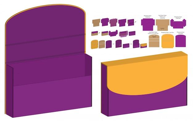 Disegno del modello fustellato dell'imballaggio della scatola della serratura del magnete. mock-up 3d