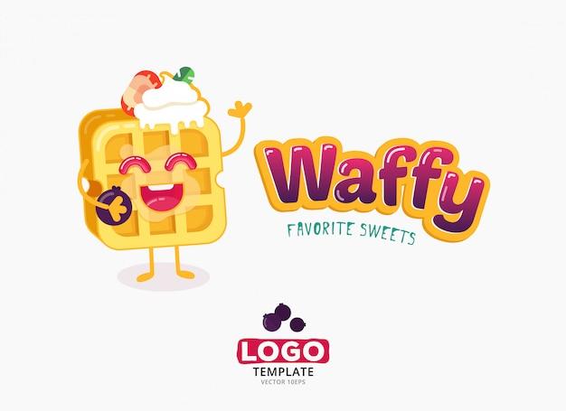 Disegno del modello logo cibo vettoriale. il belgio waffles con il gelato e le fragole isolati