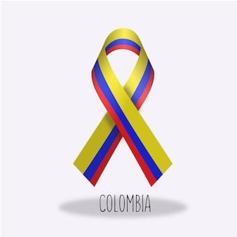 Disegno del nastro della bandiera della colombia