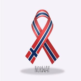 Disegno del nastro della bandiera della norvegia