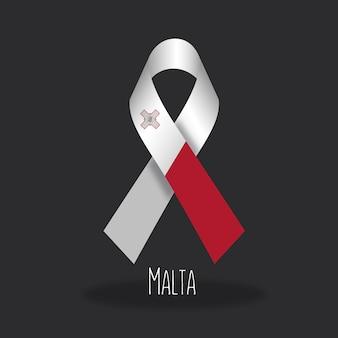 Disegno del nastro della bandiera di malta