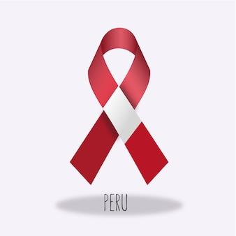 Disegno del nastro della bandierina del perù