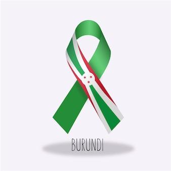 Disegno del nastro della bandierina di burundi