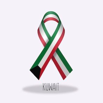 Disegno del nastro della bandierina di kuwait