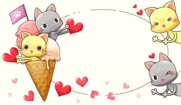 Disegno del personaggio dei cartoni animati di gatto, gelato e cuore-vettore