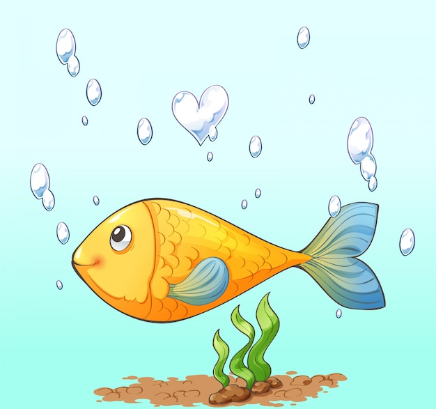 Disegno del personaggio dei cartoni animati di pesce, bolla d'aria e alghe