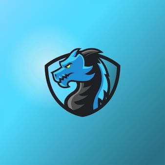 Disegno del personaggio del drago. logo del giocatore