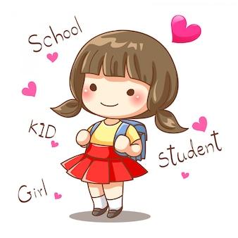 Disegno del personaggio della piccola studentessa andare a scuola