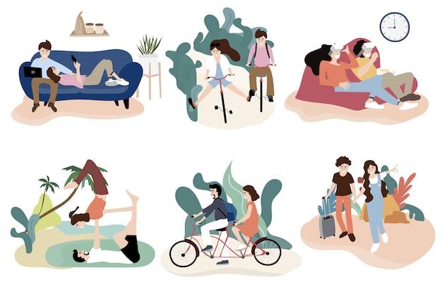 Disegno del personaggio delle coppie con attività sulla bicicletta di guida