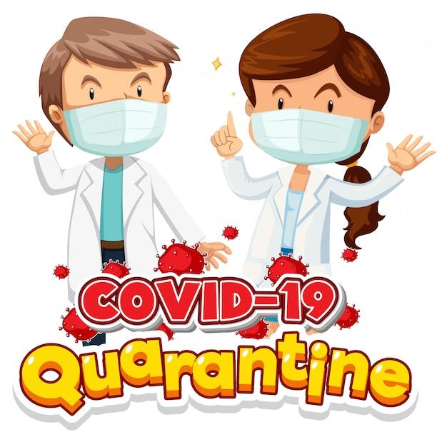 Disegno del poster di coronavirus con due doctos che indossano maschera