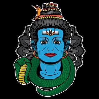Disegno del tatuaggio colorato signore shiva