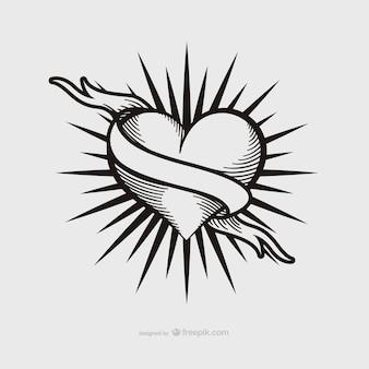 Disegno del tatuaggio del cuore dell'annata
