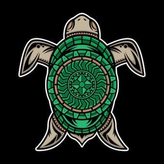 Disegno del tatuaggio della tartaruga polinesiano