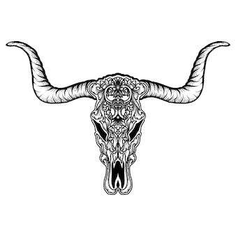 Disegno del tatuaggio e della maglietta capra teschio teschio ornamento floreale premium