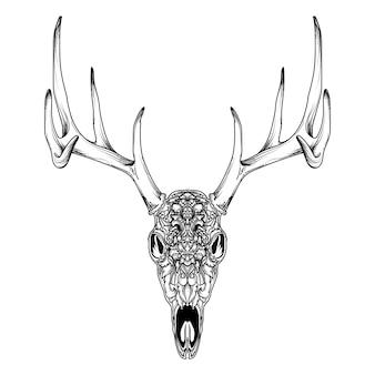 Disegno del tatuaggio e della maglietta premium di ornamenti teschio di cervo