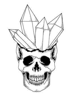 Disegno del tatuaggio e della maglietta teschio di pietra di cristallo disegnato a mano in bianco e nero