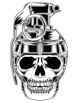 Disegno del tatuaggio e maglietta teschio granata bianco e nero premium
