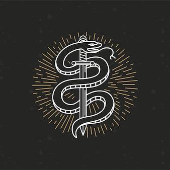 Disegno del tatuaggio monocromatico lineare di vettore