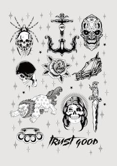 Disegno del tatuaggio vecchia scuola set stampa poster vintage