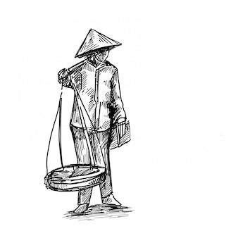 Disegno del tiraggio della mano di vendite ambulanti vietnamite