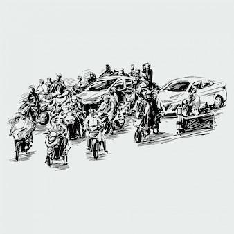 Disegno del traffico sulla strada in vietnam