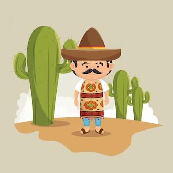 Disegno del vestito tradizionale cappello messicano uomo