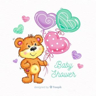 Disegno dell'acquazzone di bambino carino dell'acquerello