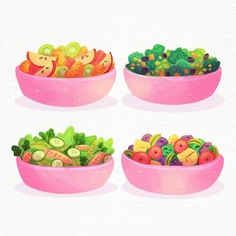 Disegno dell'acquerello di ciotole di frutta e insalata