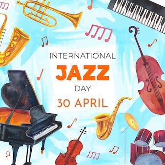 Disegno dell'acquerello di giornata internazionale del jazz