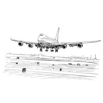 Disegno dell'atterraggio dell'aereo in vietnam