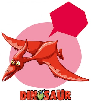 Disegno dell'autoadesivo con volo di pterosauro di dinosauro