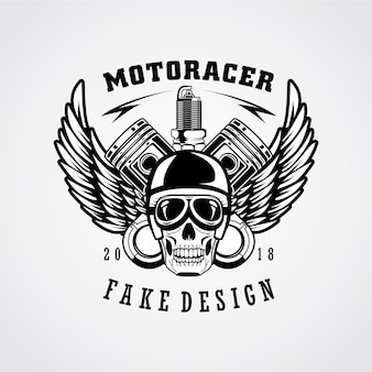 Disegno dell'emblema patch motoracer