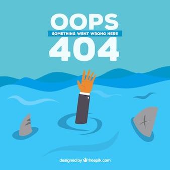 Disegno dell'errore 404 con braccio e squali