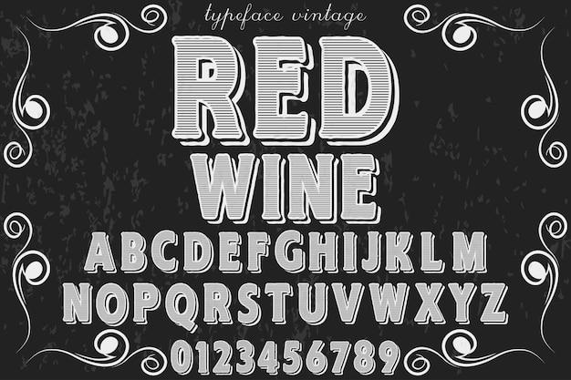 Disegno dell'etichetta alfabeto vino rosso