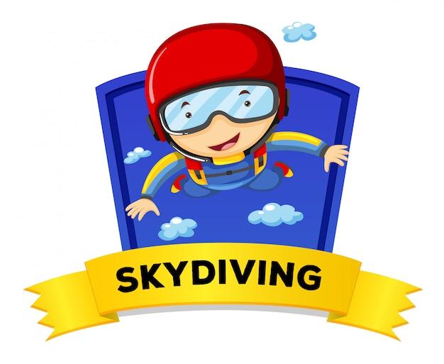 Disegno dell'etichetta con l'uomo facendo paracadutismo