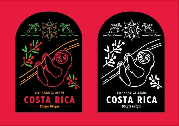 Disegno dell'etichetta dei chicchi di caffè costa rica con bradipo