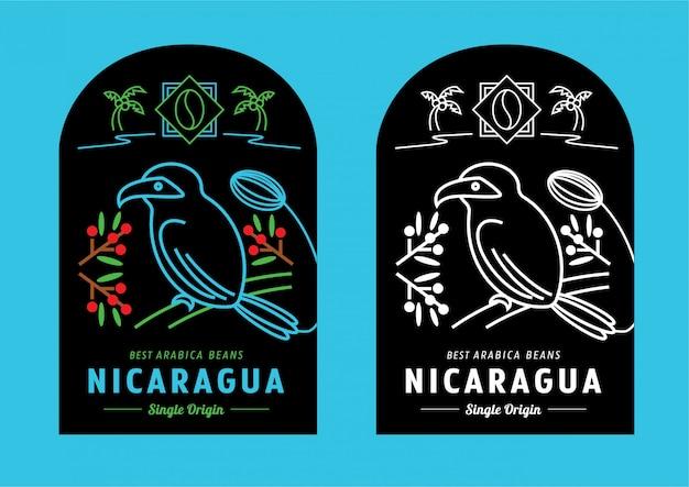 Disegno dell'etichetta dei chicchi di caffè del nicaragua