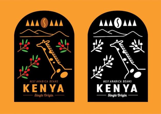 Disegno dell'etichetta del chicco di caffè del kenya